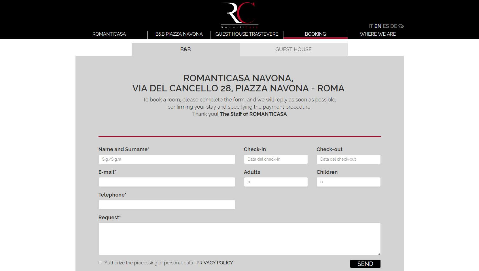 warning studio comunicazione romanticasa booking